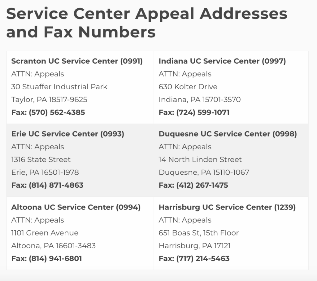 A table of locations and contact information for UC Service Centers in Pennsylvania.